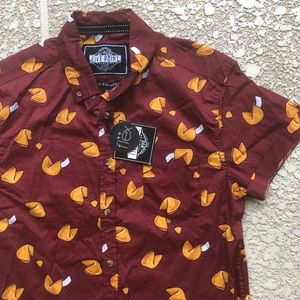 fortune cookie print short sleeved shirt NWT men's